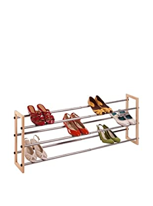 Honey-Can-Do 4 Tier Wood and Metal Shoe Rack, Wood/Chrome