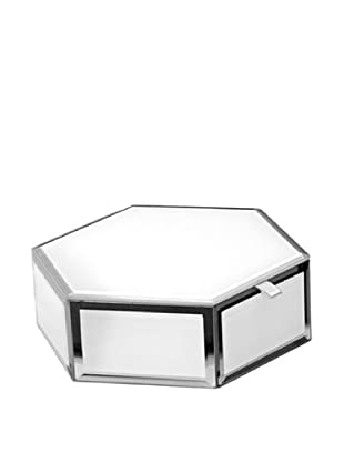 Mia Collection Glass Hexagon Storage Box (White)