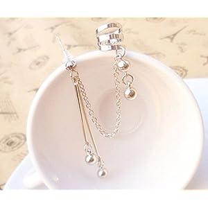 Ashiana Beautiful Silver Sphere Tassel Clip Ear Cuff Earring