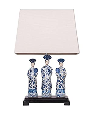 Winward Queen Lamp with Wooden Base, Blue/White