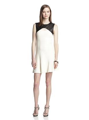 Twenty Tees Women's Knit Dress with Leather Yoke (Off White/Black)