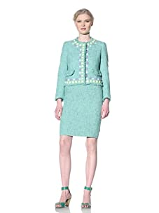 Moschino Cheap and Chic Women's Boucle Jacket with Jewel Trim (Green/Blue)