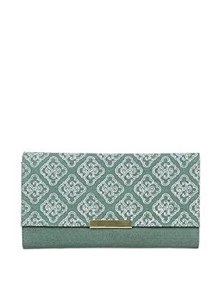 Marina Vaptzarov Linen Soft Cover Clutch Journal with Brass Button, Pale Blue/Green
