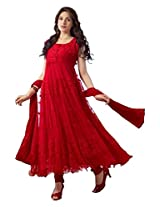 Red Long Anarkali Suit