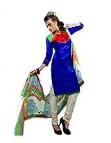 Span Women Silk Dress Material (Mc134 _Blue _34)