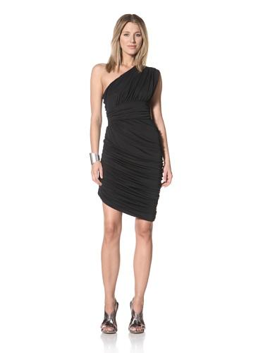 Halston Heritage Women's One-Shoulder Draped Dress (Black)