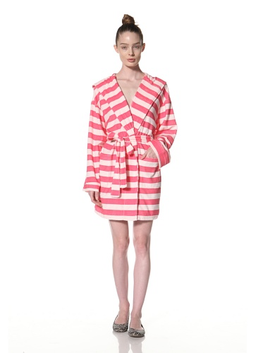 Aegean Apparel Women's Rugby Stripe Knit Terry Robe With Hood (Fuchsia/Pink)
