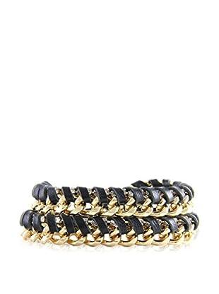 Ettika Black & 18K Gold-Plated Nautical Boom Wrap Bracelet