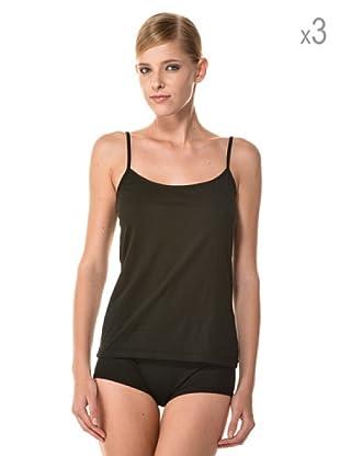 Anyma by Cotonella Pack 3 Camisetas Tirantes Finos Bielástico Extra Fino (Negro)
