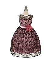Magic Fairy Girls' Lace Dress [MF-307_Black Rose_7-8 Years]
