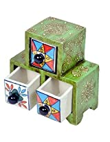 Wooden Ceramic Triple Drawer Handicraft Set by Little India
