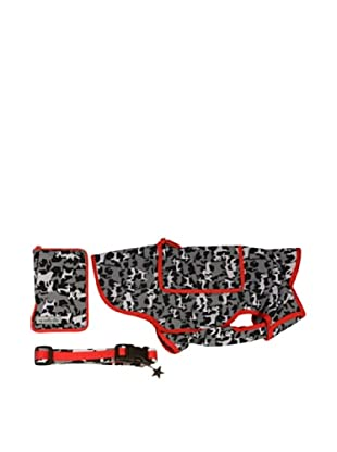 My Canine Kids Signature Camo Collection Pocket Rainslicker and Collar Set (Camo/Red)