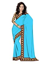 Mistyque Turquoise Chanderi saree with Kalamkari border and blouse (hearts)