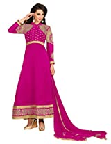 Suchi Fashion Pink Embroidered Georgette Semi Stitched Suit