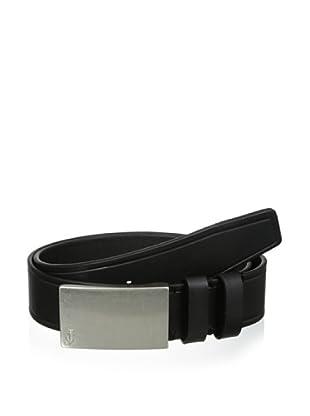 J.Campbell Los Angeles Men's Embossed Plaque Buckle Belt (Black)