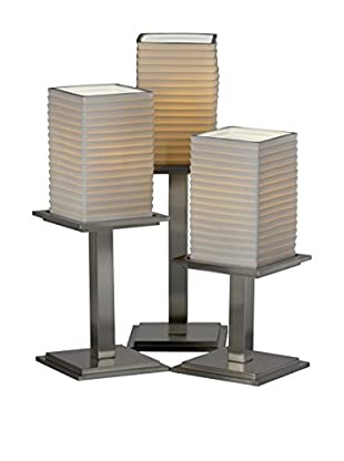 Justice Design Group Limoges 3-Light Montana Horizontal Striped Table Lamp, Brushed Nickel