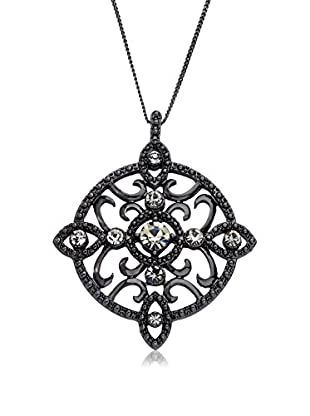 Riccova Country Chic Black Crystal Medallion Pendant On Black Rhodium Chain Necklace