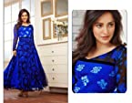 Neha Sharma Georgette Embroidered Blue Semi Stitched Bollywood Style Long Anarkali Suit - 22998