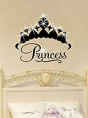Ambiance Live Wandtattoo Crown Princess x15 Swarovski Elements® schwarz