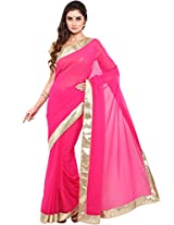 Parchayee Women's Georgette Saree (94345A, Pink, Free Size)