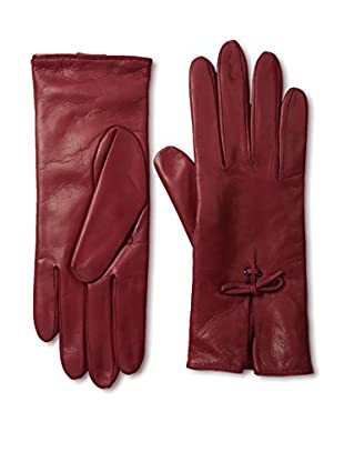 Portolano Women's Leather Gloves with Bow Tie (Winter Red)
