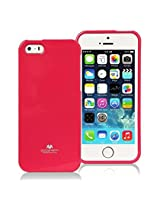 iPhone SE Case, [Low Profile] for Apple iPhone 5SE, [Pearl Glitter] MERCURY® Jelly Case TPU Case [Drop Protection] Ultra Slim TPU Case Cover [Anti-Yellowing / Discoloring Finish] - Hot Pink