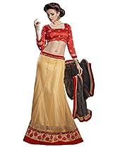 Vibes Women's Net Straight Fit Unstitched Lehenga Choli (L1-8001_Yellow)