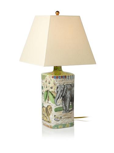 John Derian Elephant Hand-Painted Porcelain Lamp, Multi