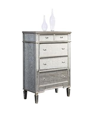 Florentine 5-Drawer Cabinet, Silver Leaf/Antique Mirror
