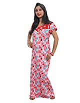 Indiatrendzs Women's Hosiery Cotton Nighty Red Nightgown Floral Print Sleepwear Maxi Dress