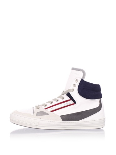 Alessandro Dell Acqua Men's Roland Hi-Top Sneaker (White/Blue/Red)