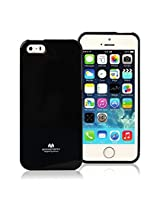 iPhone SE Case, [Low Profile] for Apple iPhone 5SE, [Pearl Glitter] MERCURY® Jelly Case TPU Case [Drop Protection] Ultra Slim TPU Case Cover [Anti-Yellowing / Discoloring Finish] - Black
