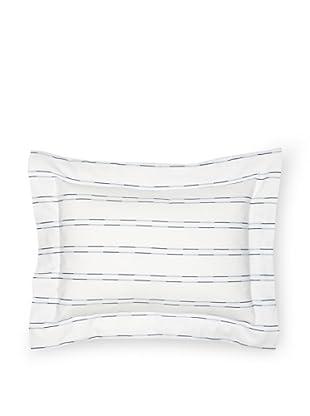 Coyuchi Two-Tone Stripe Boudoir Sham (White/Indigo)