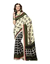 Brijraj Cream Black Green Bhagalpuri Silk Beautiful Printed Saree With Unstitch Blouse