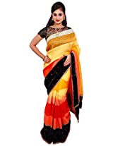 Diva Women's Organza Saree (Yellowish Orange )