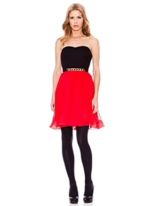 Rare Vestido Bandeau (Negro / Rojo)
