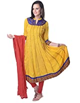 Vastra Vinod Yellow Cotton Anarkali Suit