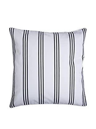 Lene Bjerre Laurie Large White & Dark Cement-Grey Striped Throw Pillow