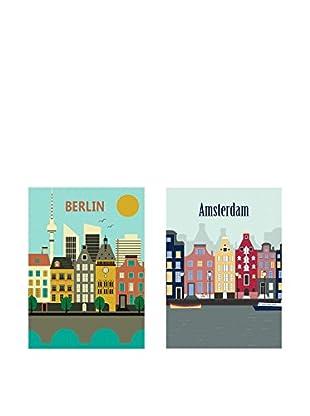 Really Nice Things Leinwandbild 2 er Set Europe Cities