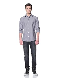 Just Cavalli Men's Spread Collar Shirt (Grey)