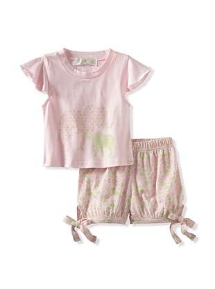 Lucky Jade Elephant Tee/Short Set (Pink)