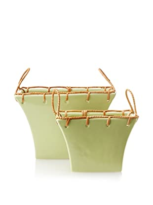 Set of 2 Flared Rectangular Planters, Yellow-Green