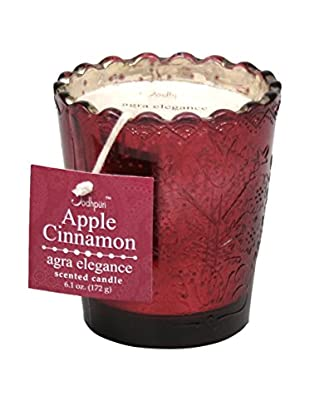 Jodhpuri 6.1-Oz. Apple Cinnamon Agra Elegance Mercury Glass Candle, Red/White