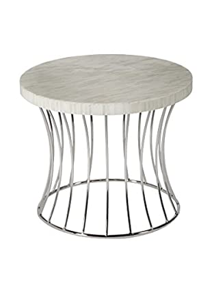Home Philosophy Metal Caged Fluted Round Table, White