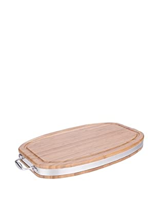 MIU France Oval Cutting/Serving Board with Stainless Steel Band and Handle (Brown)