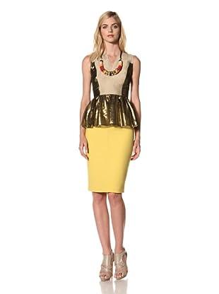Thakoon Women's Sleeveless Peplum Top (Khaki Gold)