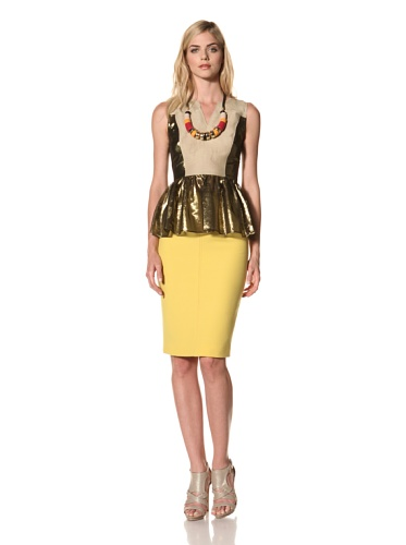 Thakoon Women's Sleeveless Peplum Top (Khaki Gold)