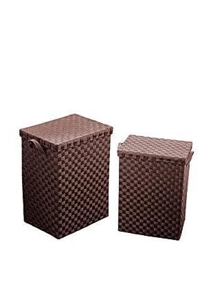 Premier Housewares Wäschekorb 2er Set 1900779 braun