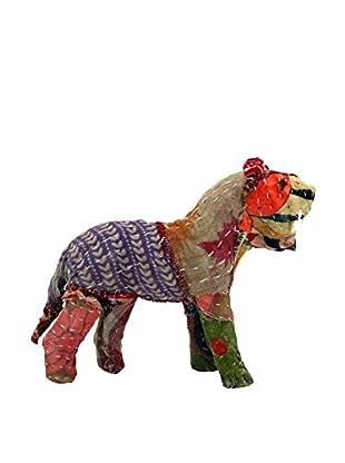 Vintage Sari Fabric Paper Mache Lion, Multi