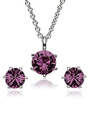 Saint Francis Crystals Set, 3-teilig Kette und Ohrstecker Made With Swarovski® Elements silberfarben/violett